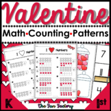 Valentine Math Activities Counting Patterns Problem-Solving PK and K