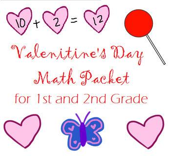 Valentine Math Packet (Addition, Subtraction, Arrays, Hundreds Chart)