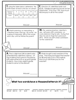 Printable Worksheets For Toddlers Free Pdf Valentine Math Percent Proportion And Ratio Word Problems By Amy  Line Plot Worksheets 3rd Grade Pdf with Adjectives Worksheet Grade 1 Pdf Valentine Math Percent Proportion And Ratio Word Problems Reference Skills Worksheets