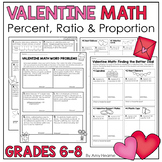 Valentine Math Ratio Proportion and Percent Word Problems