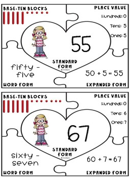 Valentine Math Place Value Heart Puzzles Differentiated - 2.2B