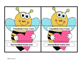 Place Value Puzzles for 2nd Grade Valentine Theme
