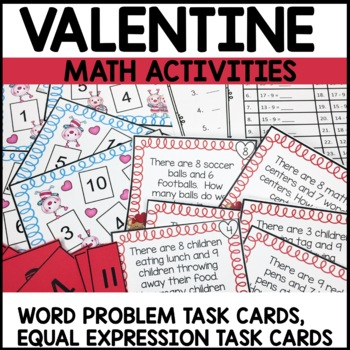 Math Task Cards | Valentine Themed | Equal Expressions | Word Problems