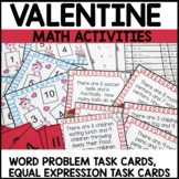 Math Task Cards | Valentine Themed | Equal Expressions | W