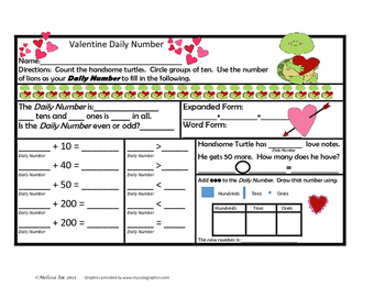 Math Problem Solving and Place Value Practice  Valentine Theme