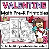 Valentine's Day Math Worksheets for Preschool
