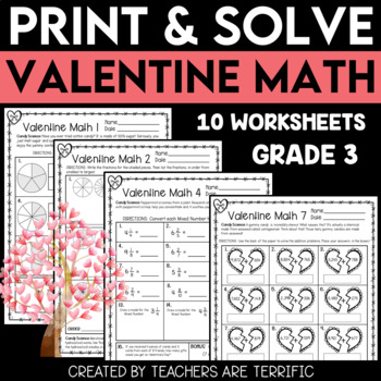 Valentine Math Print and Solve Gr. 3