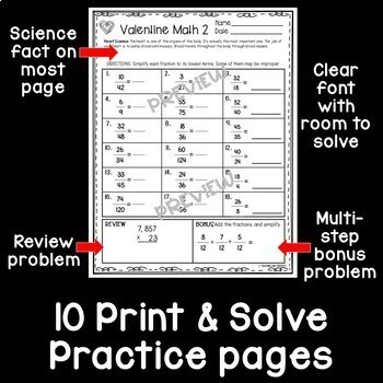 Valentine Math Print and Solve Gr. 4