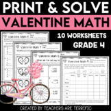 Valentine Math Print and Solve Gr. 4