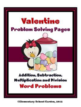 Valentine Math Problem Solving Sheets - Word Problems