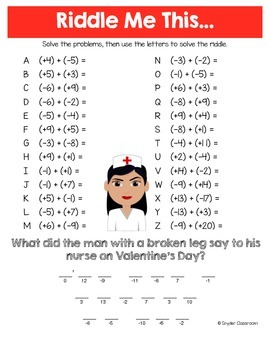 Valentine Adding Integers Math Riddles