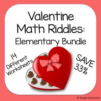 valentine math riddles elementary bundle by snyder classroom tpt. Black Bedroom Furniture Sets. Home Design Ideas