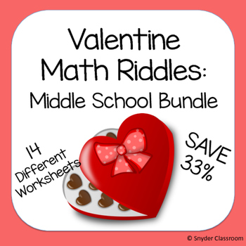 Valentine Math Riddles: Middle School Bundle