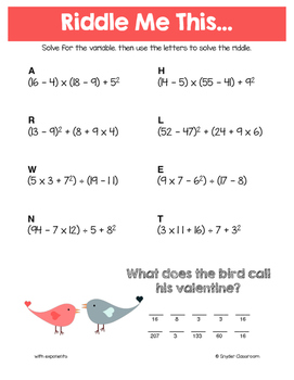 Valentine Order of Operations Math Riddles