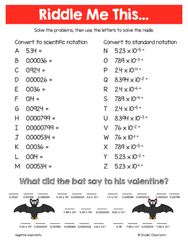 Valentine Scientific Notation Math Riddles