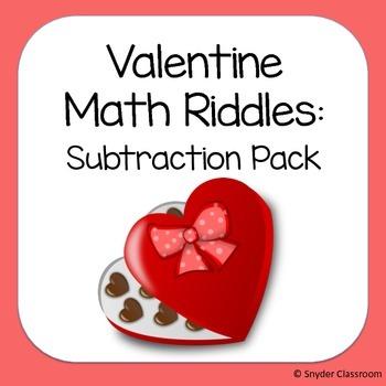 Valentine Subtraction Math Riddles