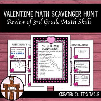 Valentine Math Scavenger Hunt 3rd Grade