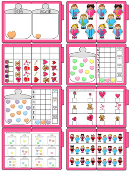 Valentine Math Skills File Folder Tasks (21 Tasks Included)