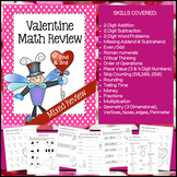 Valentine Math Skills Review (NO PREP) February