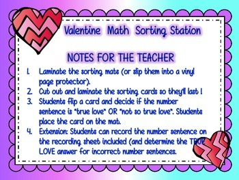 Valentine Math Sorting