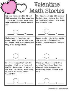 Valentine Math Stories {basic addition & subtraction}