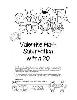 """Valentine Math"" Subtraction Within 20 - Common Core - Fun"