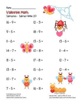"""Valentine Math"" Subtraction Within 20 - Common Core - Fun! (color & black line)"