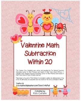 """Valentine Math"" Subtraction Within 20 - Common Core - Fun"