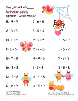 """Valentine Math"" Subtraction Within 20 - Common Core -  Fun! (color version)"