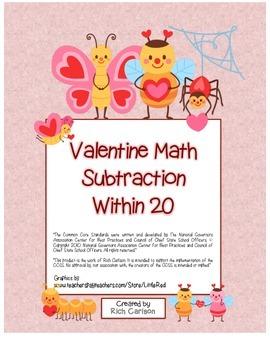"""Valentine Math"" Subtraction Within 20 - Common Core -  Fu"