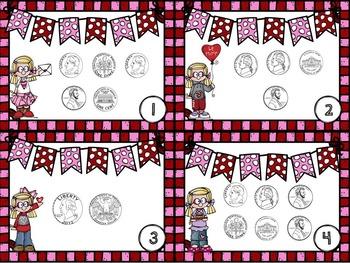 Valentine Math Task Cards 1st Grade: Time, Money, Addition, Subtraction & More