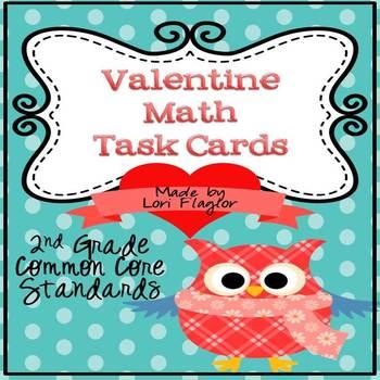 Valentine Math Task Cards & QR Codes- 2nd Grade Common Core