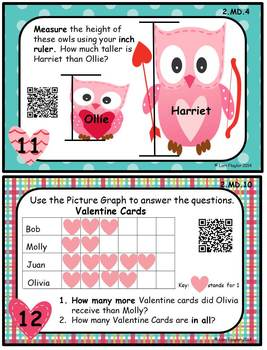 Valentine Math Task Cards & QR Codes- 2nd Grade Common Core