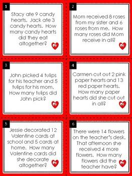 Addition Word Problems:  Valentine Math Task Cards