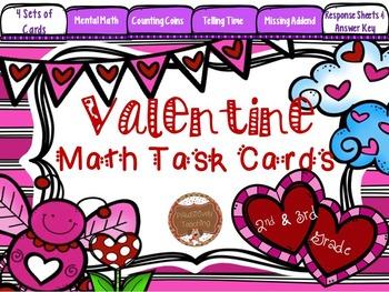 Valentine Math Task Cards: 2nd/3rd Grade Time, Money, Miss