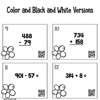 Valentine 3 Digit Addition and Subtraction Task Card Bundle w/ QR Codes