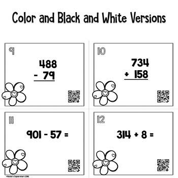 Valentine 3 Digit Addition and Subtraction Task Card Bundle w/ QR Codes
