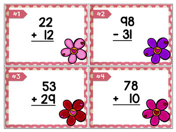 Valentine Math (Two Digit Adding/Subtracting up to 100)