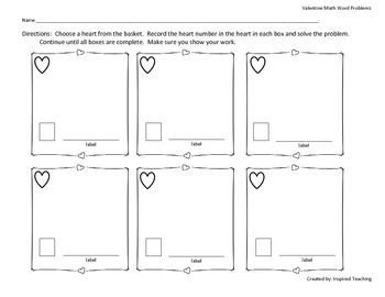 Valentine Math Word Problems (Great for Grade 2 Expressions unit 4)