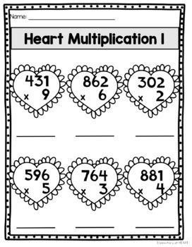 Valentine Math Worksheets (Third and Fourth Grade)