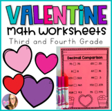 Valentine Math Worksheets (Third and Fourth Grade)