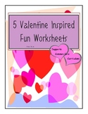 Valentine Math and Language Arts Activities - Common Core Supported