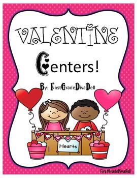 Valentine Math and Language Center Activities