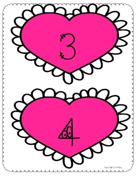 Valentine Math- measuring with hearts and telling time game Freebie in preview.