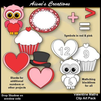 Valentine Maths Clip Art Pack