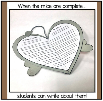 Valentine Mice Art and Writing  Project- A PRINT AND MAKE Activity