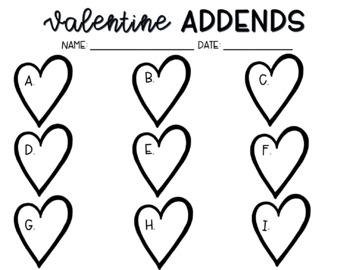 Valentine Missing Addends