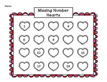 Valentine Missing Number Hearts