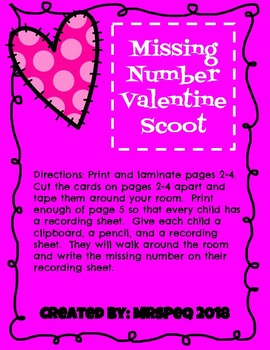 Valentine Missing Number Scoot