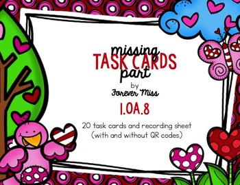 Valentine Missing Part Task Cards with/without QR Codes
